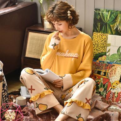 耀婷新款春秋季女士睡衣長袖家居服套裝兩件套冬季棉綢居家服B2269