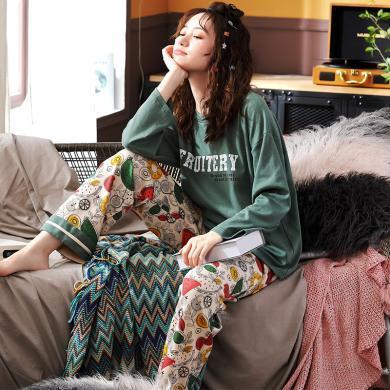 锦序秋冬季休闲舒适优雅居家纯棉圆领套头女士双长可外穿家居睡衣