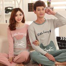 极有家 睡衣可爱卡通男女士可外穿韩版套装情侣装长袖家居服.169005
