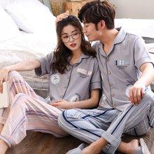 尼特名   情侶款夏季純棉開衫翻領可外穿家居服套裝J9086