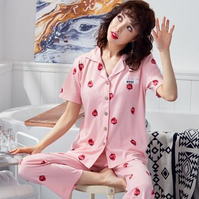 俞兆林情侶睡衣 棉質短袖韓版草莓印花睡衣 夏季薄款睡衣 男女士睡衣 可外穿睡衣 套裝家居服睡衣5502