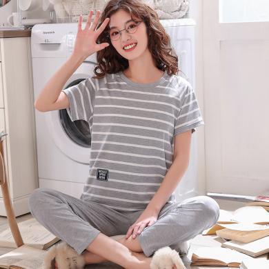 庫依娜內衣 情侶家居服短袖長褲2019年夏季新款舒適情侶套裝睡衣 MSF6622