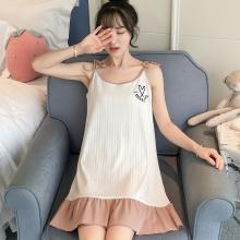 锦序夏季韩版坑条棉吊带背心中长款爱心英文可外穿睡裙