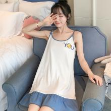 锦序夏季韩版性感吊带英文小圆表情笑脸中长款坑条棉睡裙