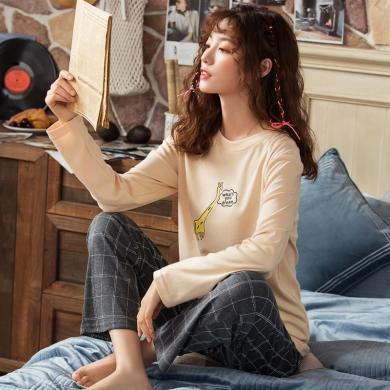 俞兆林睡衣 秋新款情侶睡衣長袖棉質印花睡衣 長袖睡衣 家居服睡衣 睡衣 睡衣W2681