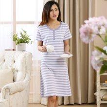 三度元短袖棉质夏季条纹睡裙韩版条纹时尚睡裙  (31050)