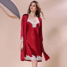 摩登孕妈 夏季新款性感蕾丝吊带裙睡裙套装女薄款气质睡衣两件套女
