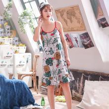 库依娜内衣 2019夏季新款吊带睡裙女士中长款甜美睡裙韩版性感睡衣莫代尔吊带睡裙 KYN007