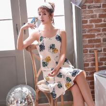 库依娜内衣 2019夏季新款吊带睡裙女士睡裙中长款甜美莫代尔韩版吊带睡裙 KYN012