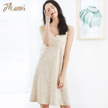顶瓜瓜睡衣女夏季薄款纯棉家居裙 性感V领吊带可爱睡裙中长裙