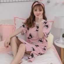 錦序可愛卡通純棉韓版圍巾兔短袖寬松薄款可外穿家居服睡裙