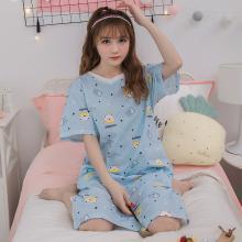 錦序小清新藍底可愛小熊短袖純棉套頭中長款家居服睡裙