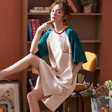 俞兆林睡裙 夏睡衣女棉质睡裙短袖圆领绅?#38752;?#36890;睡裙 宽?#26432;?#27454;睡裙 家居服8259