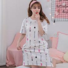 錦序俏皮可愛卡通小彩妝短袖寬松薄款套頭中長款家居服睡裙