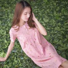 頂瓜瓜睡裙女夏純棉舒適圓領印花短袖家居服夏季可愛清新少女短裙