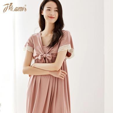 頂瓜瓜睡衣女夏季薄款莫代爾家居裙 性感吊帶披肩兩件套甜美睡裙