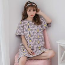 錦序夏季純棉中長款三葉花寬松薄款可外穿家居服睡裙