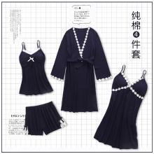 錦序夏季新款時尚舒適精梳純棉性感優雅女士家居服四件套