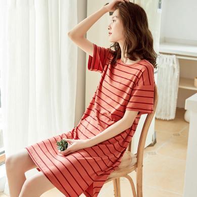 顶瓜瓜睡衣女夏季薄款纯棉家居裙 可爱甜美少女条纹短袖睡裙