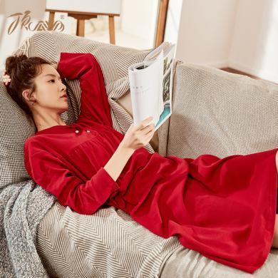頂瓜瓜睡衣女秋冬純棉家居裙 長袖女士圣誕小紅裙中長裙保暖睡裙