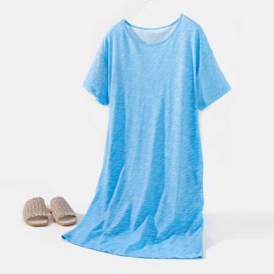 頂瓜瓜睡衣女夏季純棉薄款家居裙 簡約條紋可愛柔軟睡裙居家