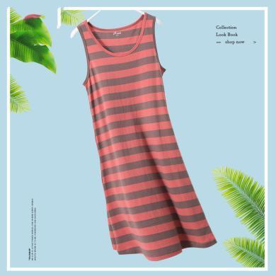 頂瓜瓜睡衣女夏季薄款純棉家居服 可愛甜美少女條紋無袖睡裙