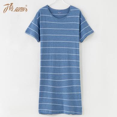 顶瓜瓜睡衣女夏季薄款纯棉家居裙 简约宽松条纹短袖睡裙新品
