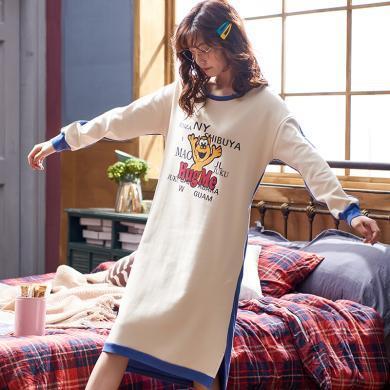 俞兆林睡裙 19秋新款长袖棉质字母印花韩版清新 长袖加厚睡裙睡衣  睡裙 睡裙YG5406