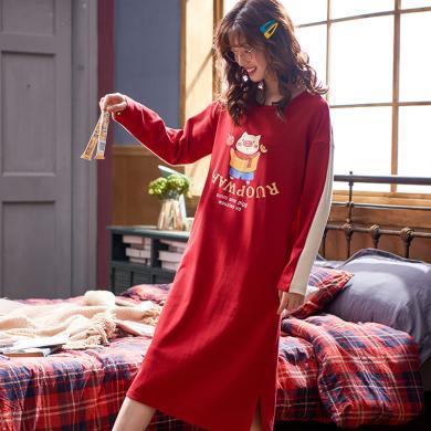 俞兆林睡裙 女秋新款棉质印花睡裙 舒适宽松睡裙 长袖保暖睡裙 睡裙 睡裙睡衣YG5402