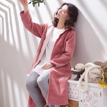 黛梦思睡袍女冬季加厚珊瑚绒睡衣女士拉链连帽法兰绒睡袍保暖中长款浴袍882816