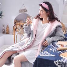 黛梦思冬季珊瑚绒睡衣女士家居服时尚简约加厚保暖法兰绒浴袍中长款睡袍885612