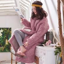 黛梦思黛梦思冬季三层加厚珊瑚绒女士睡衣韩版中长款睡袍保暖家居服浴袍809864