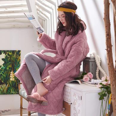 黛夢思黛夢思冬季三層加厚珊瑚絨女士睡衣韓版中長款睡袍保暖家居服浴袍809864