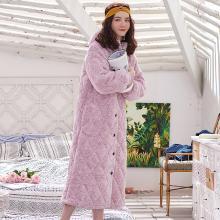 黛梦思冬季三层夹棉珊瑚绒睡衣女士韩版中长款睡袍加厚保暖棉袄家居服女808815