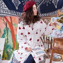 黛梦思冬季保暖法兰绒女士睡衣时尚简约珊瑚绒家居服加厚长款睡袍开衫女5622