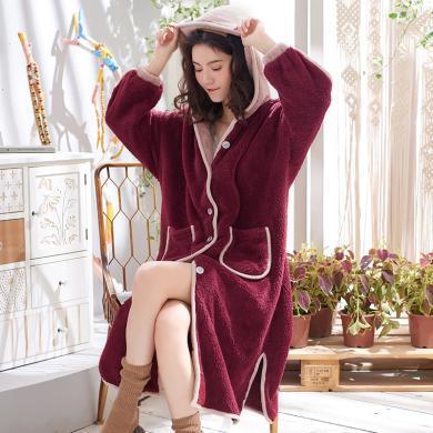 黛梦思冬季女士睡袍加厚法兰绒连帽长袖浴袍简约中长款保暖珊瑚绒睡衣女882822