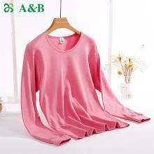 A&Bab内衣女士保暖内衣上衣单件薄款纯棉圆领内穿贴身棉毛衫(T660)