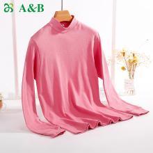 A&Bab内衣女士保暖上衣单件薄款纯棉半高领内穿贴身棉毛衫(T668 )