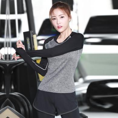 派衣阁 冬季爆款新款女士健身长袖运动T恤速干衣瑜伽服训练服装