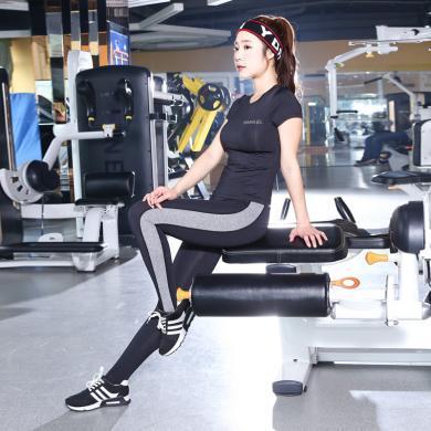 秋冬新款運動健身訓練套裝女瑜伽服修身彈力褲健身兩件套