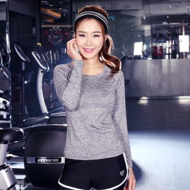 派衣阁 新款健身服长袖T恤速干衣 女士户外运动纯色修身瑜伽服