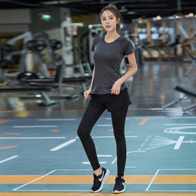 韩版瑜伽服女套装速干紧身衣跑步运动健身服两件套专业健身房新款