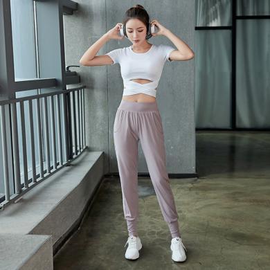 秋季瑜伽健身服兩件套 女速干運動顯瘦內衣跑步休閑服兩件套裝