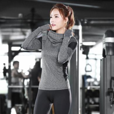 派衣阁 韩版新款瑜伽长袖上衣运动健身服紧身衣户外瑜伽服