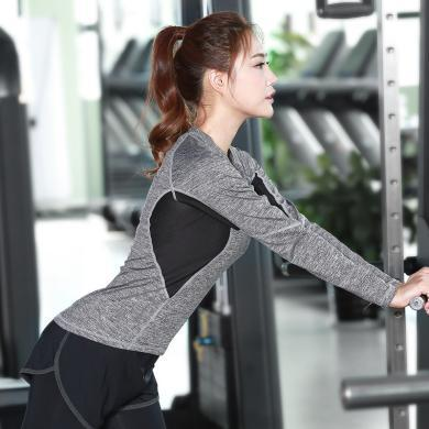 派衣閣 韓版新款健身服女士長袖t恤速干衣修身瑜伽服 戶外運動