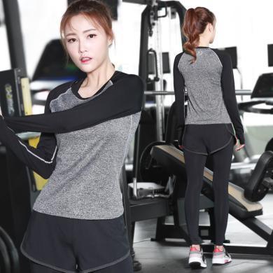 新款瑜伽服两件套女户外运动休闲套装健身服瑜伽紧身裤
