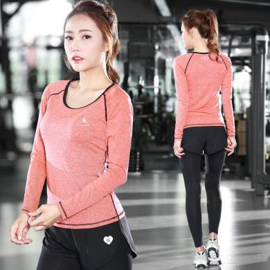 新款熱銷運動休閑套裝瑜伽緊身褲兩件套戶外健身服速干衣