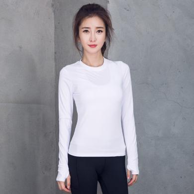 派衣阁 韩版秋款运动t恤女宽松弹力透气速干长袖袖跑步健身瑜伽上衣