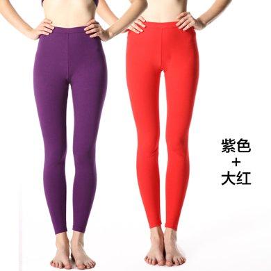 2件裝薄款修身線褲襯褲保暖褲 緊身女士秋褲單件打底褲棉毛褲7515