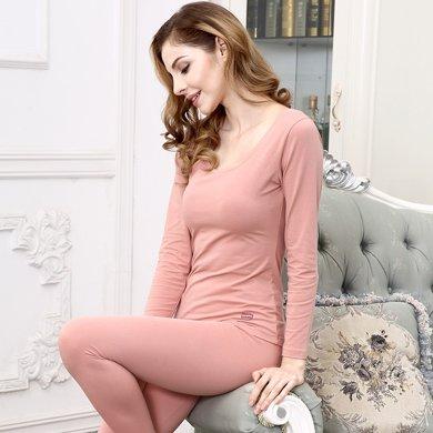 敦之盾 純棉緊身少女打底長袖套裝 緊身秋衣秋褲女士薄款保暖內衣7101